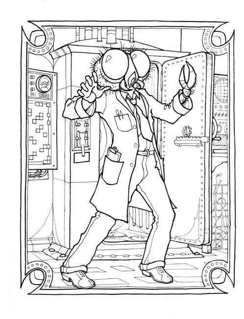 the fly from monster gallery Space Theme Coloring Books  Sci Fi Coloring Book