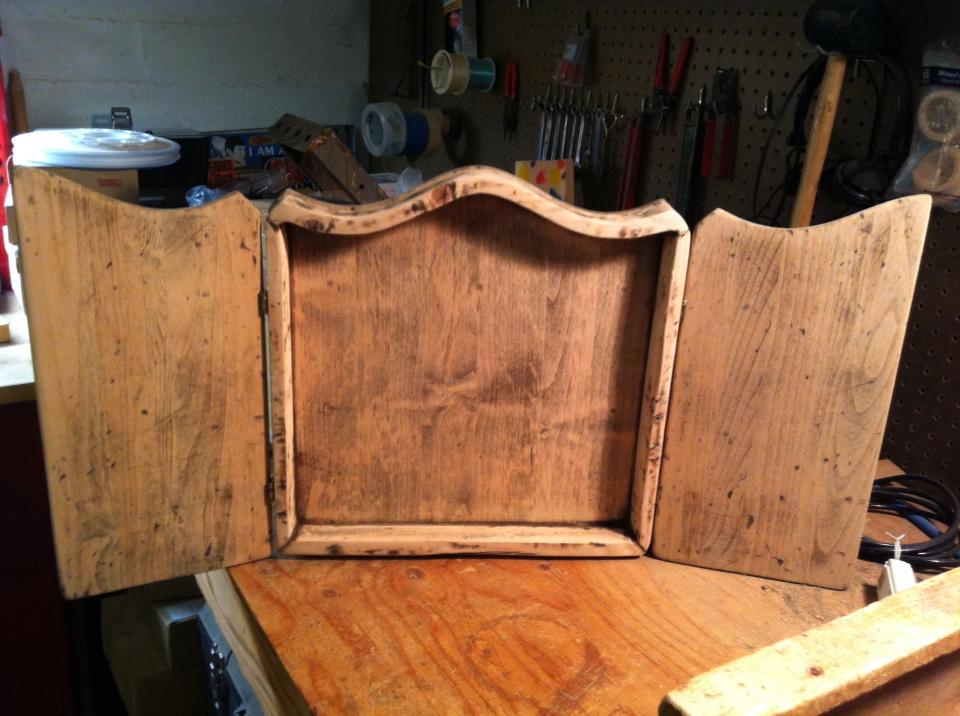 Cross Purposes - the new arch-top frame for my devotional cabinet