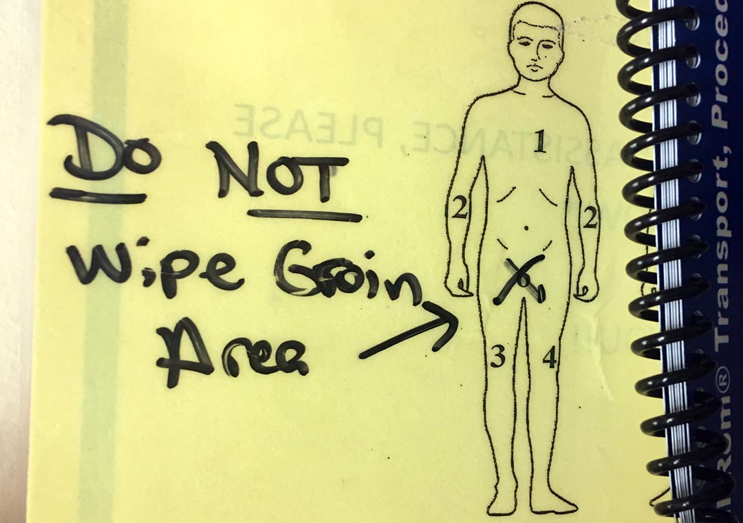 Do not wipe groin illustration